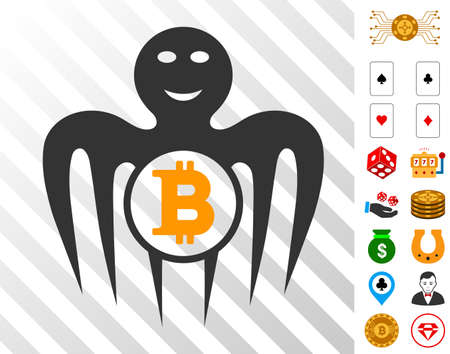 Bitcoin Happy Monster icon with bonus gambling design elements. Vector illustration style is flat iconic symbols. Designed for casino gui.