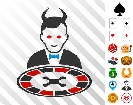Devil Roulette Dealer icon with bonus gambling pictures. Vector illustration style in flat iconic symbols. Designed for gambling gui.