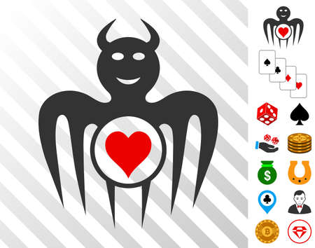 Gambling Happy Devil icon with bonus casino pictograms. Vector illustration style is flat iconic symbols. Designed for casino software.