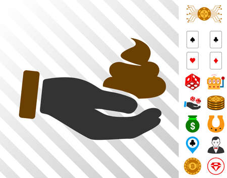 Hand Offer Shit icon with bonus gamble clip art. Vector illustration style is flat iconic symbols. Designed for gambling apps.