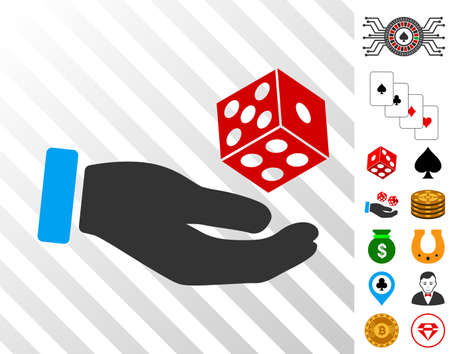 Hand Throw Dice pictograph with bonus casino design elements. Vector illustration style is flat iconic symbols. Designed for gambling websites. Illustration