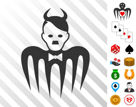 Spectre Devil icon with bonus gambling graphic icons. Vector illustration style is flat iconic symbols. Designed for gamble websites.