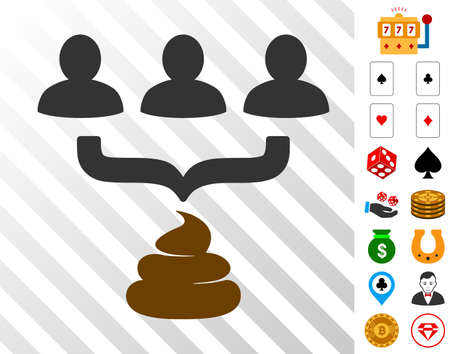 Human Shit Aggregator Funnel icon with bonus gambling images. Vector illustration style is flat iconic symbols. Designed for gambling apps.