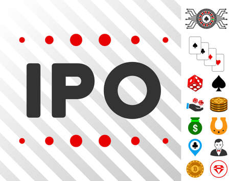 Ipo Caption pictograph with bonus gambling graphic icons. Vector illustration style is flat iconic symbols. Designed for gamble websites.