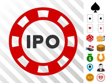 Ipo Token pictograph with bonus gambling pictographs. Vector illustration style is flat iconic symbols. Designed for gambling gui.