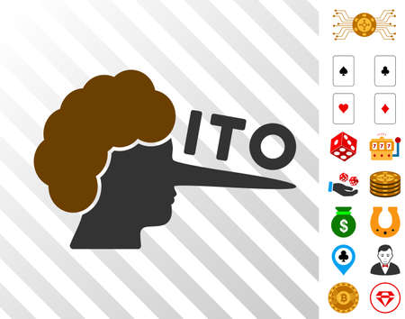 Ito Lier pictograph with bonus gambling pictures. Vector illustration style is flat iconic symbols. Designed for casino gui. Иллюстрация