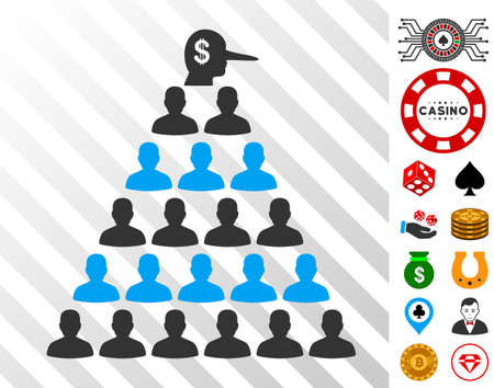 Ponzi Pyramid Manager pictograph with bonus casino design elements. Vector illustration style is flat iconic symbols. Designed for gambling apps.