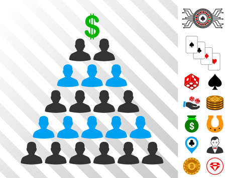 Ponzi Pyramid Scheme icon with bonus gambling pictures. Vector illustration style is flat iconic symbols. Designed for gamble ui. Illustration