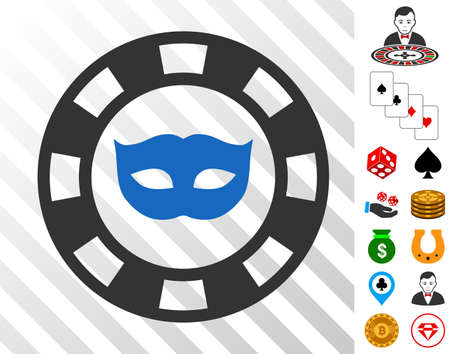 Private Mask Casino Chip icon with bonus gamble pictograms. Vector illustration style is flat iconic symbols. Designed for gamble gui.