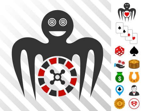 Roulette Mad Monster icon with bonus casino design elements. Vector illustration style is flat iconic symbols. Designed for gambling software.