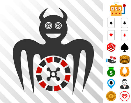 Roulette Mad Spectre Devil icon with bonus gamble pictures. Vector illustration style is flat iconic symbols. Designed for casino software.