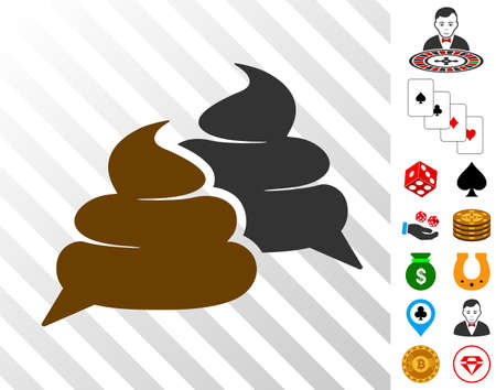 Chat icon with bonus gambling graphic icons. Vector illustration style is flat iconic symbols. Designed for gambling ui.