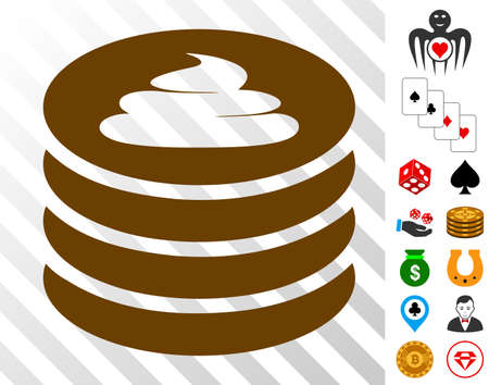 Coin Stack icon with bonus casino pictographs. Vector illustration style is flat iconic symbols. Designed for gamble gui.