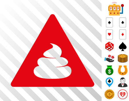 Danger icon with bonus gambling graphic icons. Vector illustration style is flat iconic symbols. Designed for casino software.