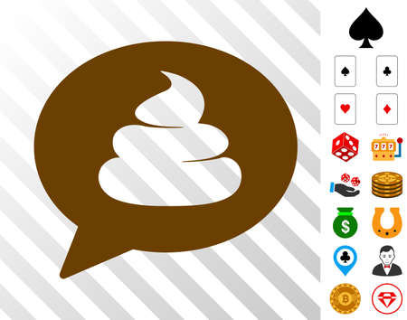 Shit Idea Balloon pictograph with bonus gambling pictographs. Vector illustration style is flat iconic symbols. Designed for gamble gui.