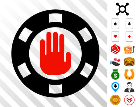 Stop Gambling Chip icon with bonus gambling clip art. Vector illustration style is flat iconic symbols. Designed for casino websites. Illustration