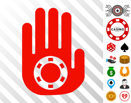 Stop Gambling Palm pictograph with bonus gamble clip art. Vector illustration style is flat iconic symbols. Designed for gambling software.