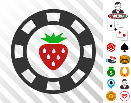 Strawberry Casino Chip icon with bonus gambling images. Vector illustration style is flat iconic symbols. Designed for gambling apps. Illustration