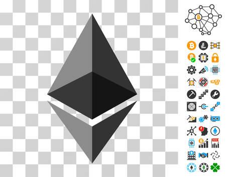 Ethereum 보너스 bitcoin 마이닝 및 blockchain 그래픽 아이콘이있는 크리스탈 상형 문자. 벡터 일러스트 레이 션 스타일 플랫 아이코 닉 기호입니다. 블록 체