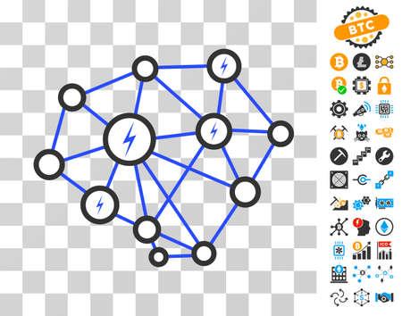 Lightning Network icon with bonus bitcoin mining and blockchain images. Vector illustration style is flat iconic symbols. Designed for blockchain ui toolbars.