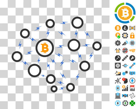 Bitcoin Lightning Network pictograph with bonus bitcoin mining and blockchain pictograms. Vector illustration style is flat iconic symbols. Designed for blockchain websites. Illustration
