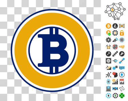 Bitcoin Gold pictograph with bonus bitcoin mining and blockchain clip art. Vector illustration style is flat iconic symbols. Designed for cryptocurrency websites.
