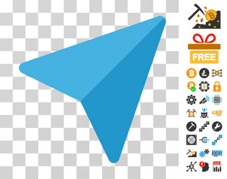 Freelance Paper Plane pictograph with bonus bitcoin mining and blockchain images. Vector illustration style is flat iconic symbols. Designed for cryptocurrency apps. Ilustrace