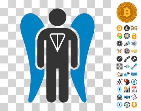 Ton Angel Investor icon with bonus bitcoin mining and blockchain images. Vector illustration style is flat iconic symbols. Designed for bitcoin websites.
