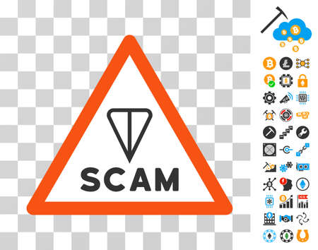 Ton Scam Warning pictograph with bonus bitcoin mining and blockchain pictographs. Vector illustration style is flat iconic symbols. Designed for blockchain software.
