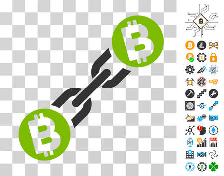 Bitcoin Blockchain pictograph with bonus bitcoin mining and blockchain symbols. Vector illustration style is flat iconic symbols. Designed for crypto currency ui toolbars.