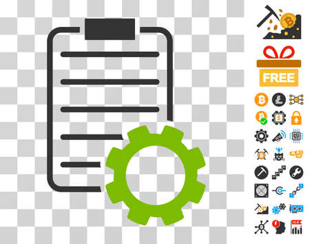 Smart Contract Gear pictograph with bonus bitcoin mining and blockchain design elements. Vector illustration style is flat iconic symbols. Designed for cryptocurrency websites.