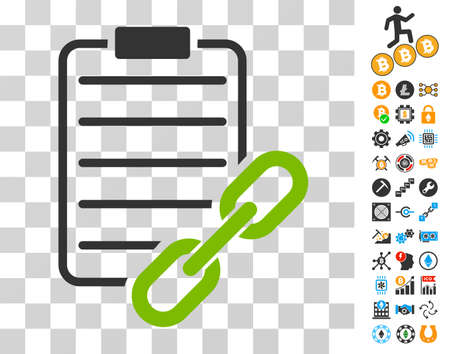 Blockchain Contract pictograph with bonus bitcoin mining and blockchain images. Vector illustration style is flat iconic symbols. Designed for cryptocurrency websites.