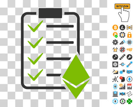 Ethereum Smart Contract pictograph with bonus bitcoin mining and blockchain pictures. Vector illustration style is flat iconic symbols. Designed for cryptocurrency software.