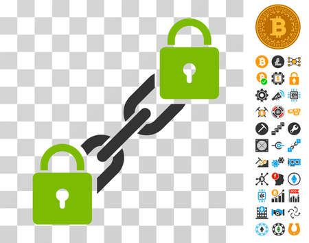 Lock Blockchain pictograph with bonus bitcoin mining and blockchain design elements. Vector illustration style is flat iconic symbols. Designed for cryptocurrency apps.
