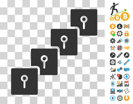 Locker Blockchain pictograph with bonus bitcoin mining and blockchain pictograms. Vector illustration style is flat iconic symbols. Designed for bitcoin apps.