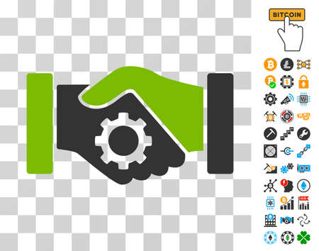 A Smart Contract Handshake icon with bonus bitcoin mining and blockchain images. Vector illustration style is flat iconic symbols. Designed for cryptocurrency software. Illustration