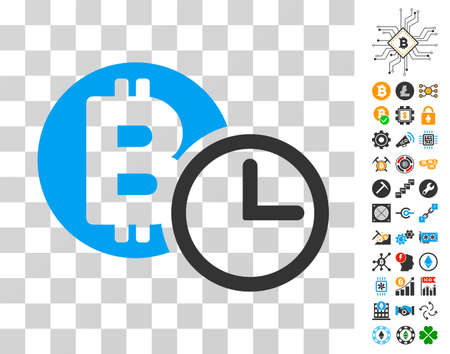 Bitcoin Credit Clock icon with bonus bitcoin mining and blockchain icons. Vector illustration style is flat iconic symbols. Designed for cryptocurrency apps. Illustration