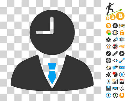 Time Manager pictograph with bonus bitcoin mining and blockchain icons. Vector illustration style is flat iconic symbols. Designed for blockchain apps.