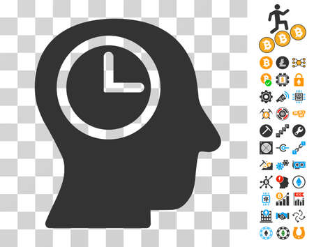 Time Manager icon with bonus bitcoin mining and blockchain design elements. Vector illustration style is flat iconic symbols. Designed for cryptocurrency ui toolbars.