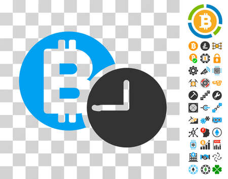 Bitcoin Credit Clock pictograph with bonus bitcoin mining and blockchain pictures. Vector illustration style is flat iconic symbols. Designed for bitcoin websites.