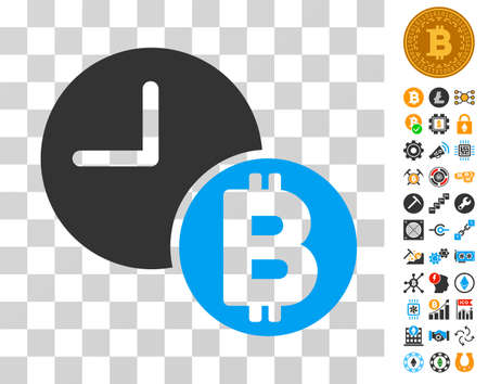 Bitcoin Credit Clock icon with bonus bitcoin mining and blockchain pictures. Vector illustration style is flat iconic symbols. Designed for bitcoin software.
