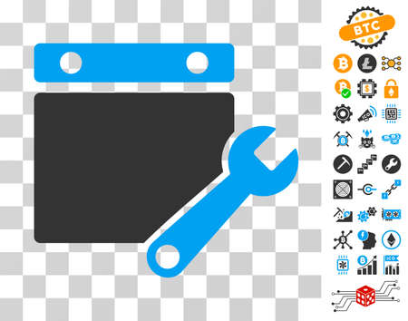 Calendar Tuning pictograph with bonus bitcoin mining and blockchain graphic icons. Vector illustration style is flat iconic symbols. Designed for blockchain software.