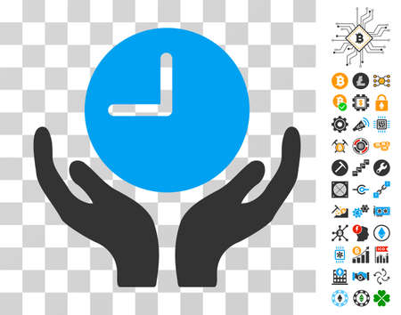 Clock Care pictograph with bonus bitcoin mining and blockchain graphic icons. Vector illustration style is flat iconic symbols. Designed for crypto currency websites.