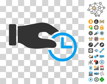 Clock Properties icon with bonus bitcoin mining and blockchain pictograms. Vector illustration style is flat iconic symbols. Designed for crypto currency ui toolbars. Illustration