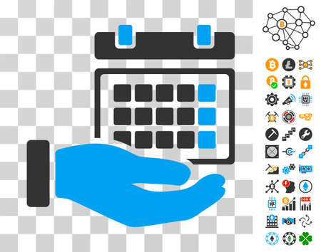 Service Timetable icon with bonus bitcoin mining and blockchain pictograms. Vector illustration style is flat iconic symbols. Designed for bitcoin apps. Illustration