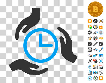 Time Care icon with bonus bitcoin mining and blockchain pictograms. Vector illustration style is flat iconic symbols. Designed for bitcoin apps.