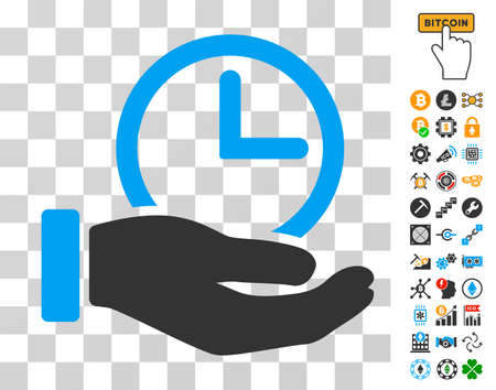 Time Service pictograph with bonus bitcoin mining and blockchain design elements. Vector illustration style is flat iconic symbols. Designed for crypto-currency ui toolbars.
