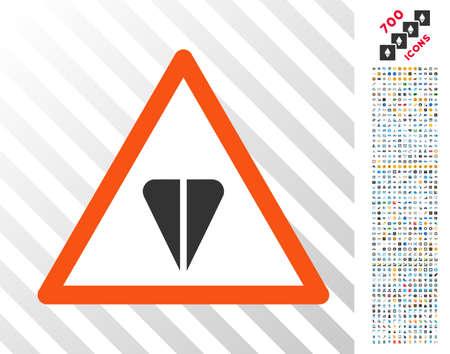 Ton Warning icon with 7 hundred bonus bitcoin mining and blockchain symbols. Vector illustration style is flat iconic symbols designed for blockchain websites.