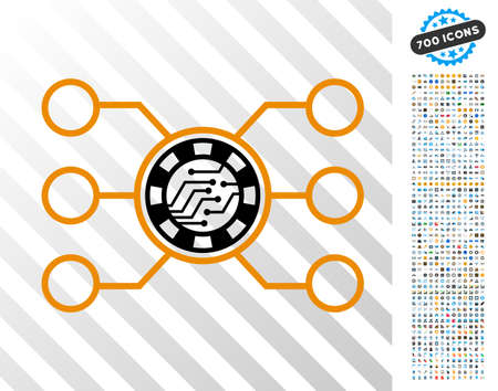 Casino Chip Circuit icon with 7 hundred bonus bitcoin mining and blockchain clip art. Vector illustration style is flat iconic symbols designed for bitcoin apps. Illustration