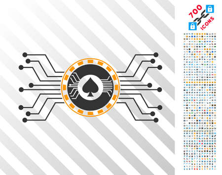 Digital Casino Circuit icon with 7 hundred bonus bitcoin mining and blockchain images. Vector illustration style is flat iconic symbols designed for bitcoin websites.